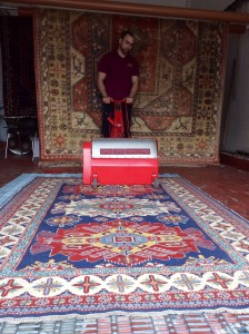 Rug Cleaning - Mechanical Beating of a Caucasian Rug