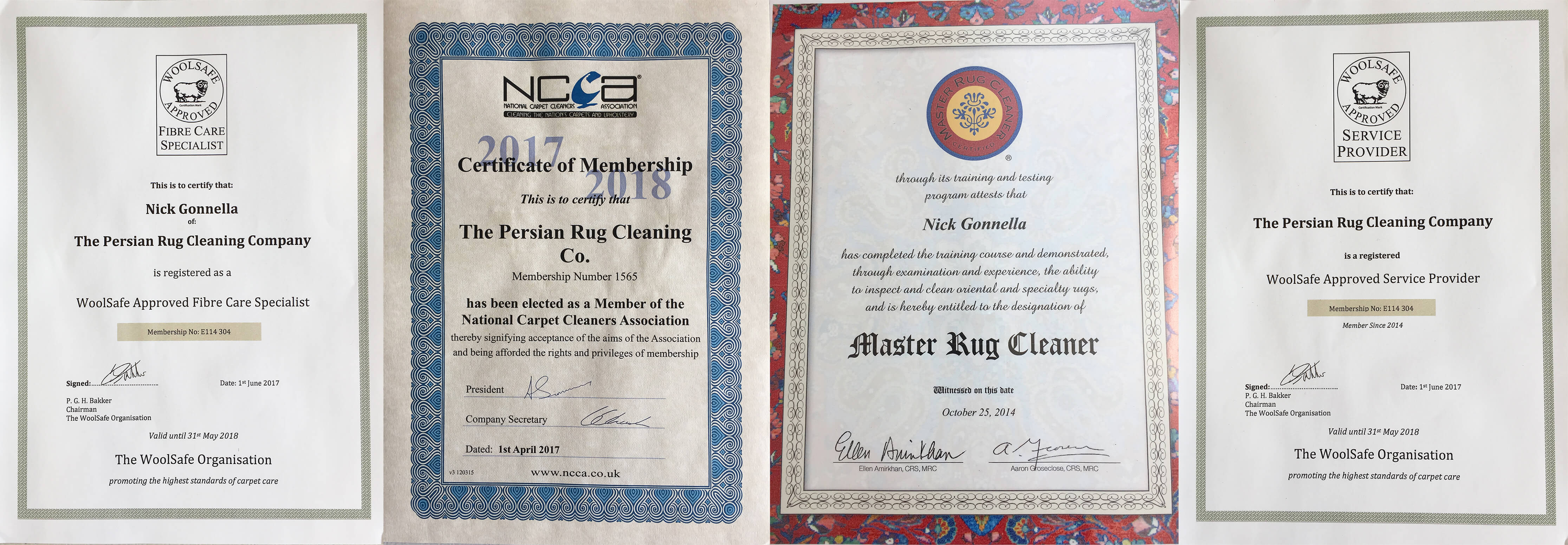 Persian Rug Cleaning Industry Certificates