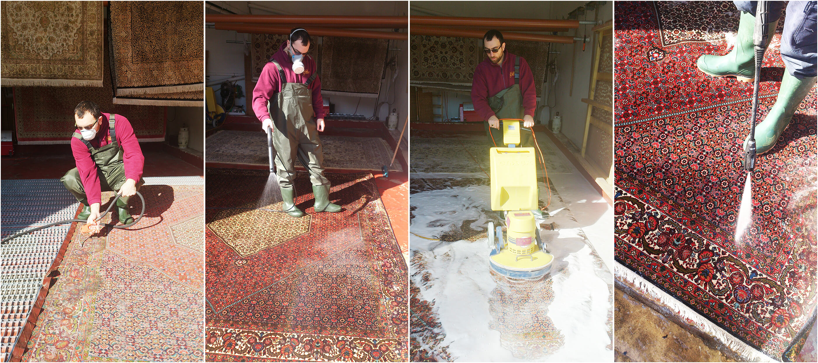 rug cleaning a Bidjar carpet