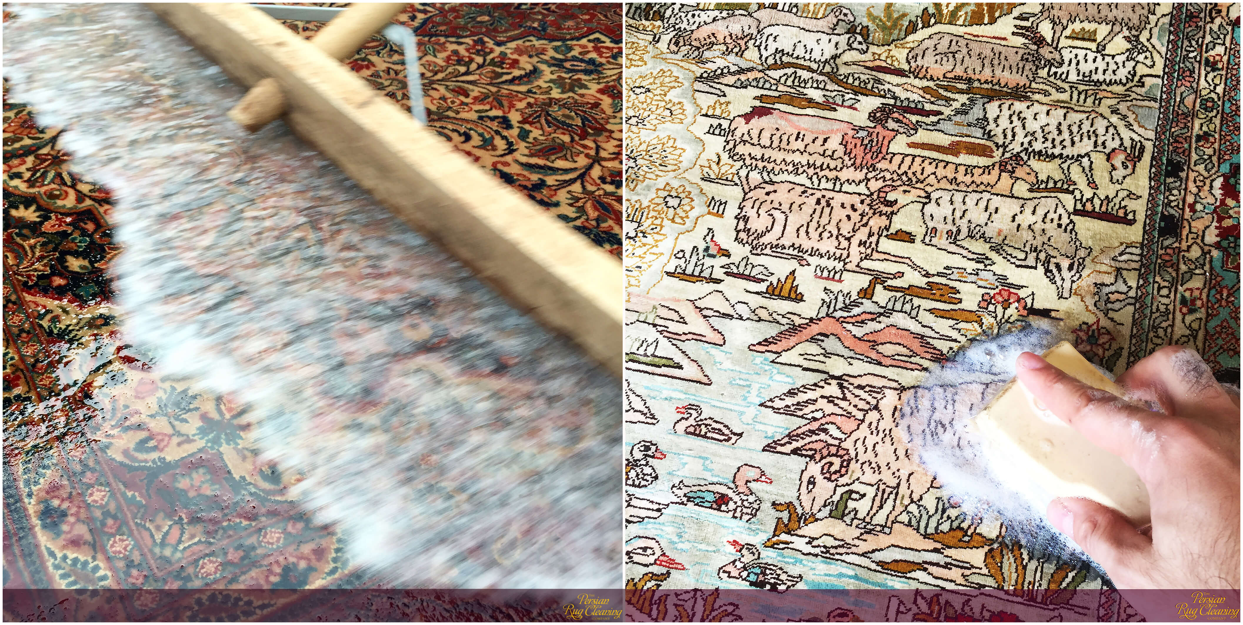 Isfahan and Hereke rugs being hand washed