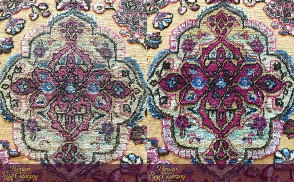 Silk Kashan before and after dusting