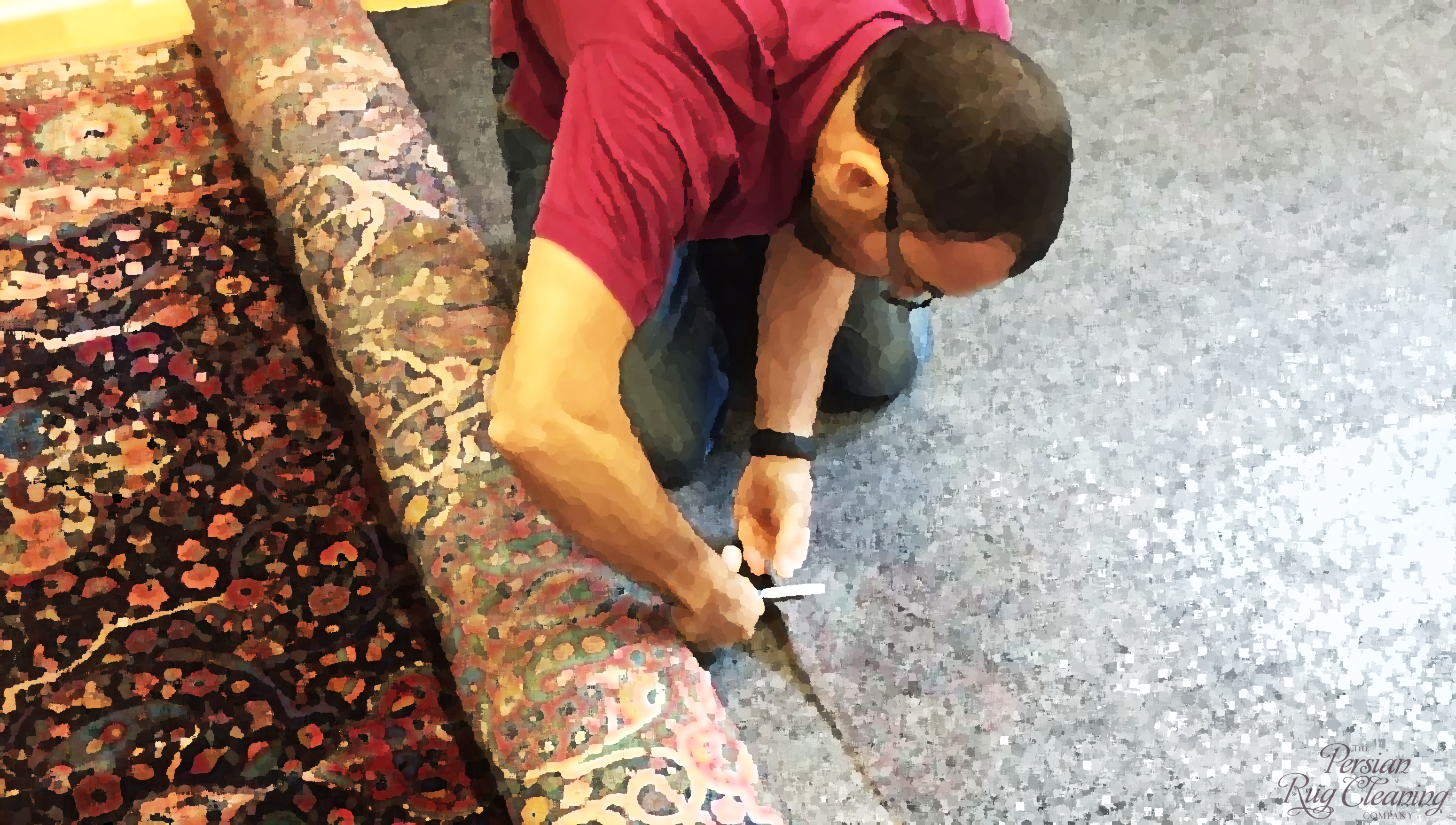 laying a washed Kashan rug on John Lewis underlay